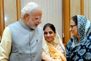 Geeta gets PM Narendra Modi welcome