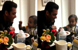 Salman With Cute Ahil in London Enjoying Breakfast